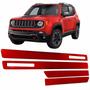 $ X Jogo Friso Lateral Jeep Renegade 15/16 Vermelho Colorado Original