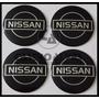 Jg Emblema Adesivo Calota Roda Nissan Preto 65mm - 4 Pçs Original