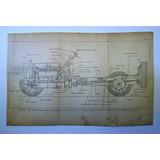 Antiguo Grabado  Automovil Packard Vista Lateral Chasis 1925