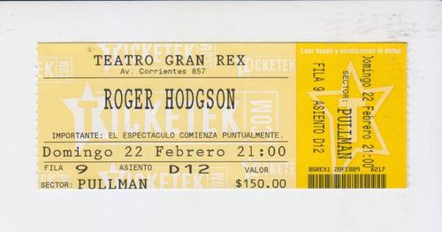 Entrada De Roger Hodgson (ex Supertramp) En Argentina