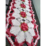 Trilho Caminho De Mesa Croche Barbante Cru Vermelho Multicor Original