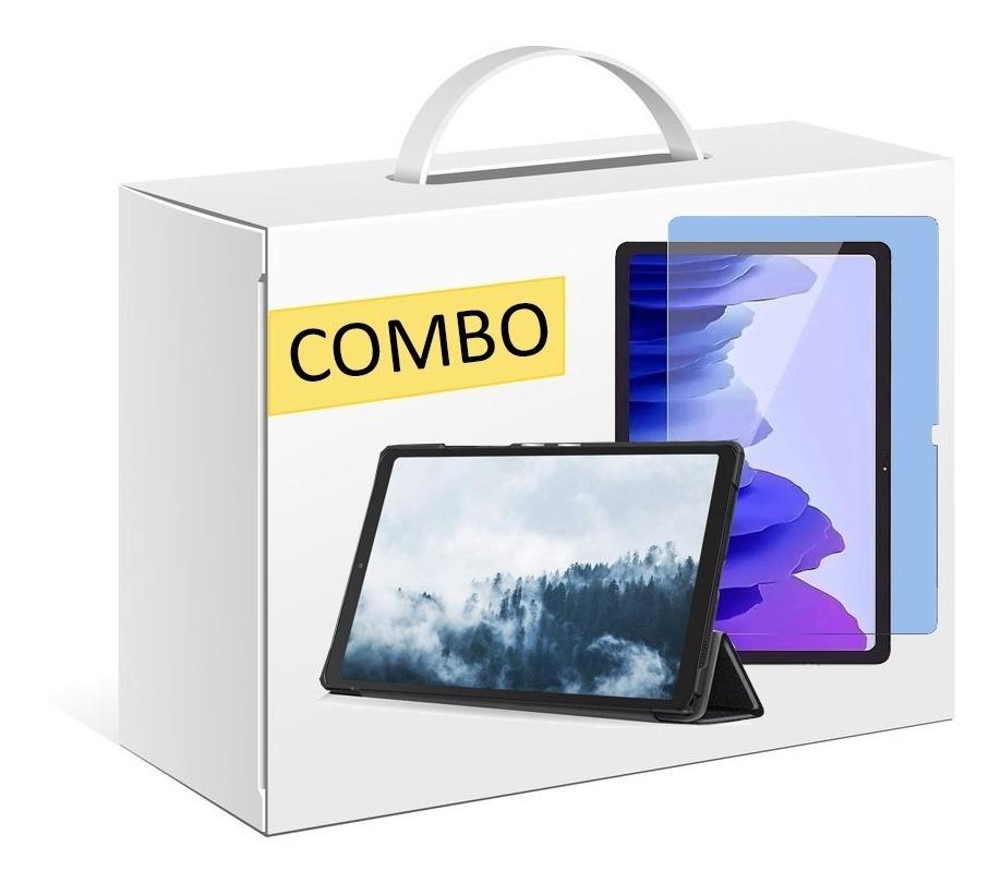 COMBO FUNDA SMART COVER PARA SAMSUNG TAB A7 T500 NEGRO + VIDRIO