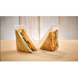 Envase Sándwich Triangular Plástico Transparente X 10 Unid