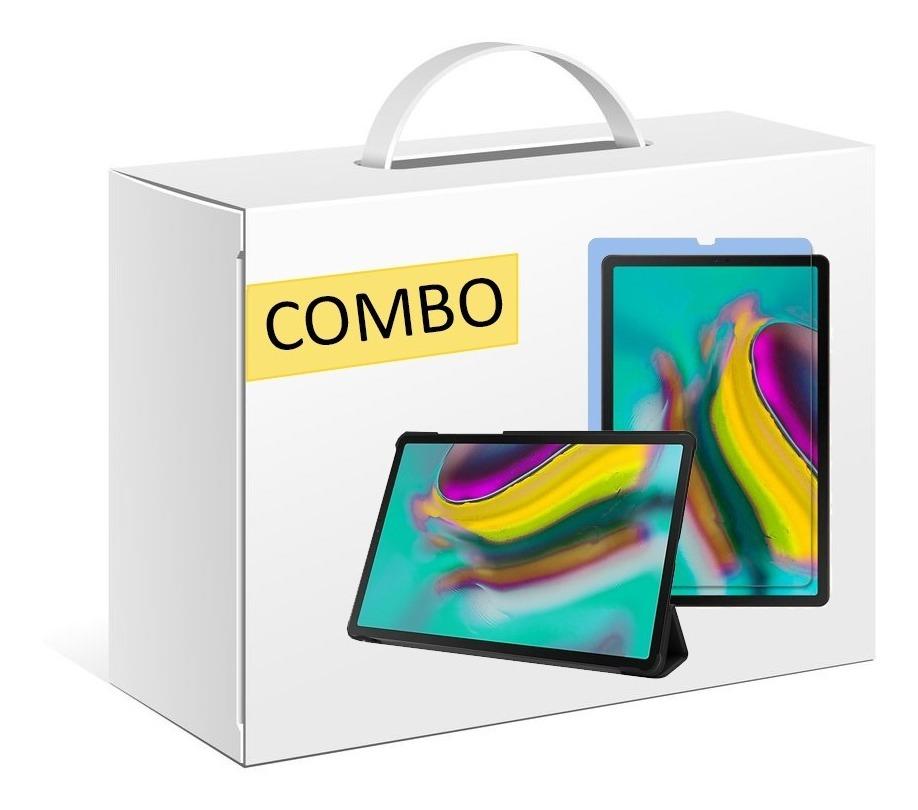 COMBO FUNDA SMART TAB S5E T720 COLOR NEGRO + VIDRIO