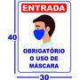 1 Unidade -  Obrigatório O Uso De Máscara  Cartaz 30x40cm Original