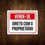 Placa De Sinalização - Vende-se Direto Proprietário 36x46 Original