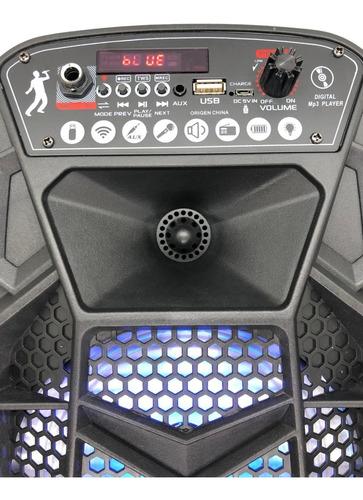 Parlante Portátil 6.5 Bluetooth 800w Luces Aux Usb Mic Fm