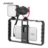 Andoer Smartphone Video Rig Grig Grip Con Rig Luz Led Microp