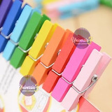 50 Broches Madera Color Decoracion Fotos Candy Bar Mini
