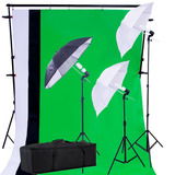 Kit Estudio Fotografico Luz Fondos Sombrillas Fotografia Set