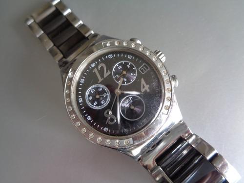 Reloj Swatch Irony Acero Y Negro, Impecable Como Nuevo