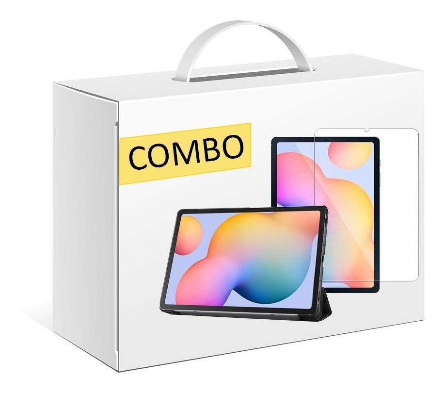 COMBO FUNDA SMART TAB S6 LITE COLOR NEGRO + VIDRIO