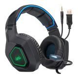 Headset Gamer Knup Kp-488 Preto E Azul