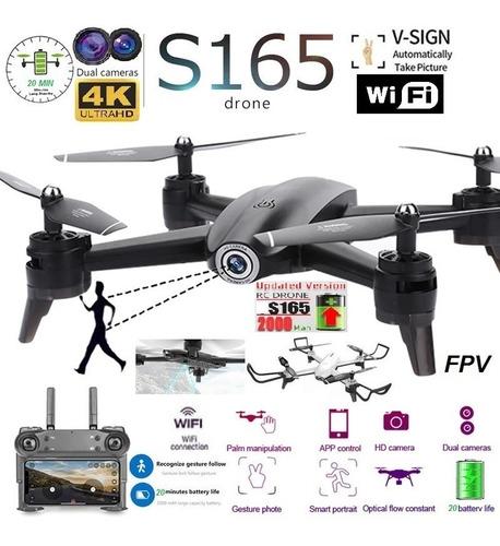 Drone S165 Dual Camara 4k 20 Min Sensor Optico 100m 2000mah