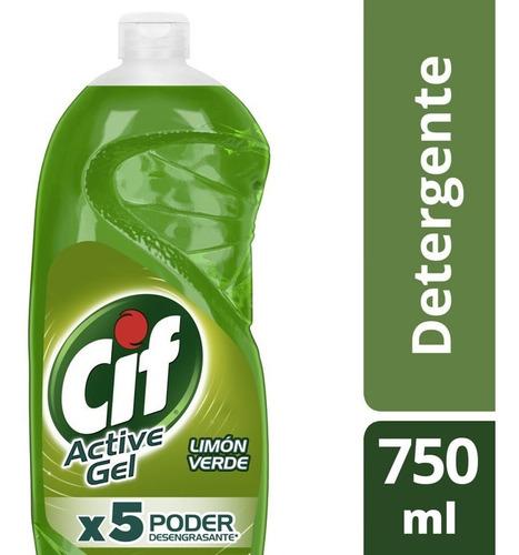 Cif Active Gel Detergente Lavavajilla Limón Verde 750ml