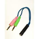 Cable Adaptador Convertidor Plug 3.5 Audio Y Microfono 1 A 2