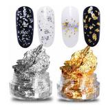 2 Potes Papel Metalizado Para Decoración Uñas Foil Oro Plata