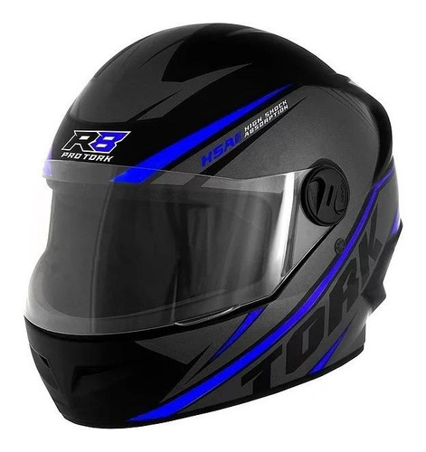 Capacete Para Moto Integral Pro Tork R8 Preto E Azul-escuro Tamanho 58