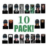 10 Pack Bandana - Tipo Buff, Mascara, Cacería, Moto, Pesca