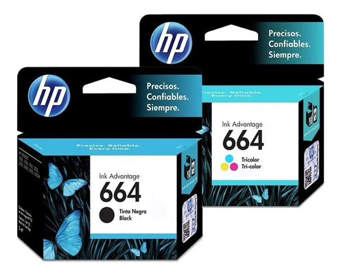 Pack 2 Tintas Originales Hp 664 Negro+color 1115/2135/2675