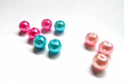 200 Perlas 6mm Colores Para Confeccionar Bijou Agujereadas