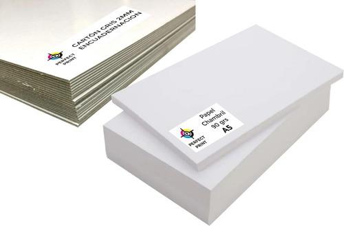 Papel + Tapas A5 Para Agendas 20 Tapas 2mm 500 Hojas 90 Grs
