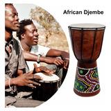 Tambor De Djembe Africano Tallado A Mano, De Madera Maciza,