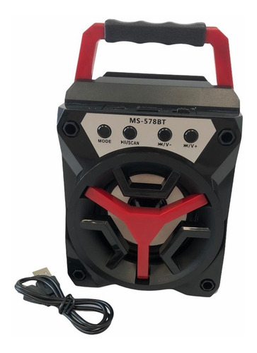 Parlante Bluetooth Portátil Inalámbrico Usb Recargable Rojo