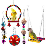 Juguetes Para Aves, Incluye Columpio, Campana Y Mordillo