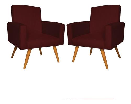 Kit 2 Poltronas Cadeira Decorativa Nina Suede Pés Palito