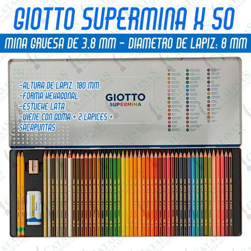 Lapices Colores Mina Gruesa Giotto Lata X50color Microcentro