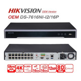 Nvr Hikv 16 Canales Poe 8mp 4k 1080p Hdmi Ds-7616ni-q2/16p