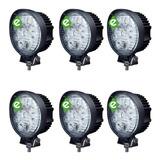 Pack X 6 Faros Reflector Led 27w Redondo 12v 24v Tractor