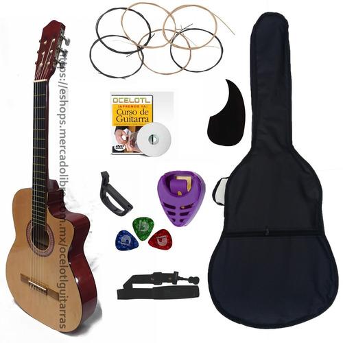 Guitarra Acústica Curva Ocelotl Paquete Básico De Accesorios
