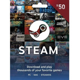 Tarjeta Regalo Key Steam 50 Usd Dólares Global