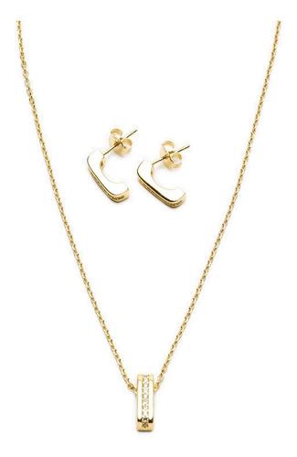 Collar + Aros De Plata 925 , Bañado En Oro / Cecilia Bolocco