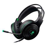 Headset Gamer Evolut Têmis Eg301 Preto E Verde Com Luz Led