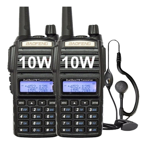 Kit 2 Handy Baofeng Uv82 10w Bibanda Radio Walkie Talkie Vhf Uhf + Auricular Manos Libres
