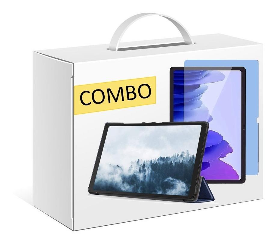 COMBO FUNDA SMART COVER PARA SAMSUNG A7 LITE T220 T225 AZUL + VIDRIO