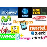 Recargas Saldo Y Paquetes Telcel At&t Movistar Unefon Iusace