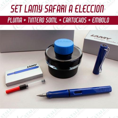 Set Lamy Safari Pluma+tinta/frasco+embolo+cartuchos Microcen