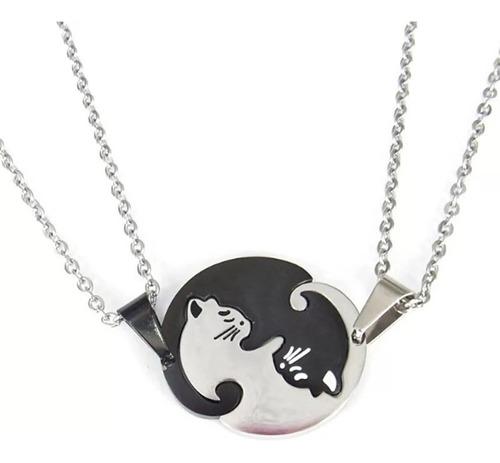 Collar Amor Parejas Dos Gatos Romantico Acero Inoxidable