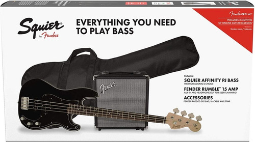 Pack Bajo Electrico Squier By Fender Affinity Series Negro