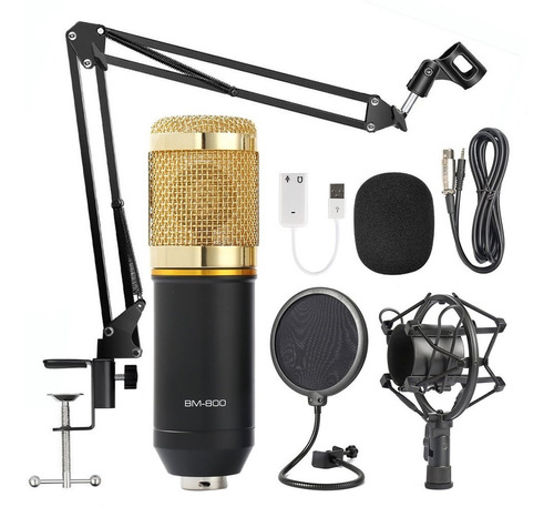 Set 7 Microfono Profesional Bm800 Condensador Negro Dorado