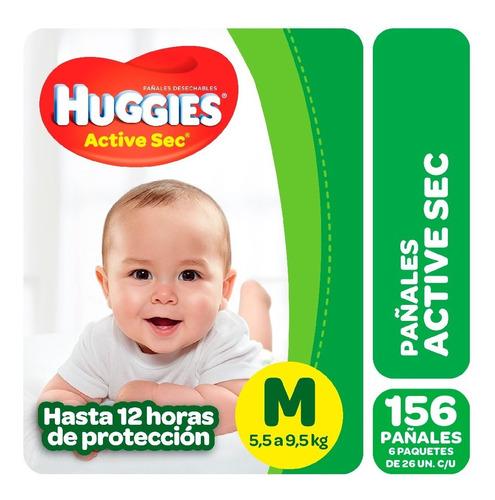 Pañales Huggies Active Sec Megapack Pack X 6 M G Xg Xxg