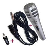 Microfone Karaokê Mondial C Adaptador Plug P2 Cabo 2 Metros