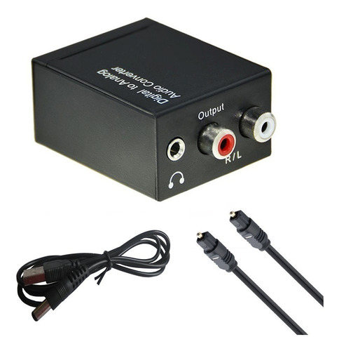 Conversor Audio Digital A Rca + Cable Optico Digital 1 Mts