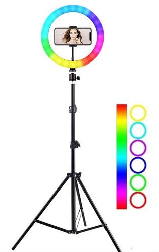Multicolor 26cm Aro Luz Led Celular 1.7m Tripie Video Rgb
