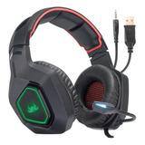 Headset Gamer Knup Kp-488 Preto E Vermelho