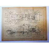 Antiguo Grabado Planta Y Alzado Chasis Auto National 1925